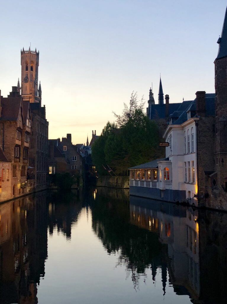 Overlooking a Bruges canal in the evening.