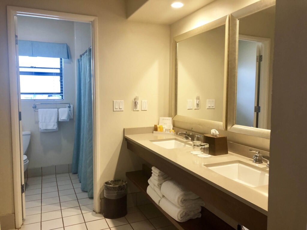 double vanity and separate bathroom at Glorietta Bay Inn hotel San Diego CA