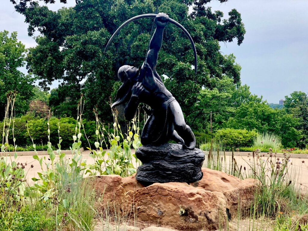 Gilcrease Museum Native American statue with arrow pointed to the sky