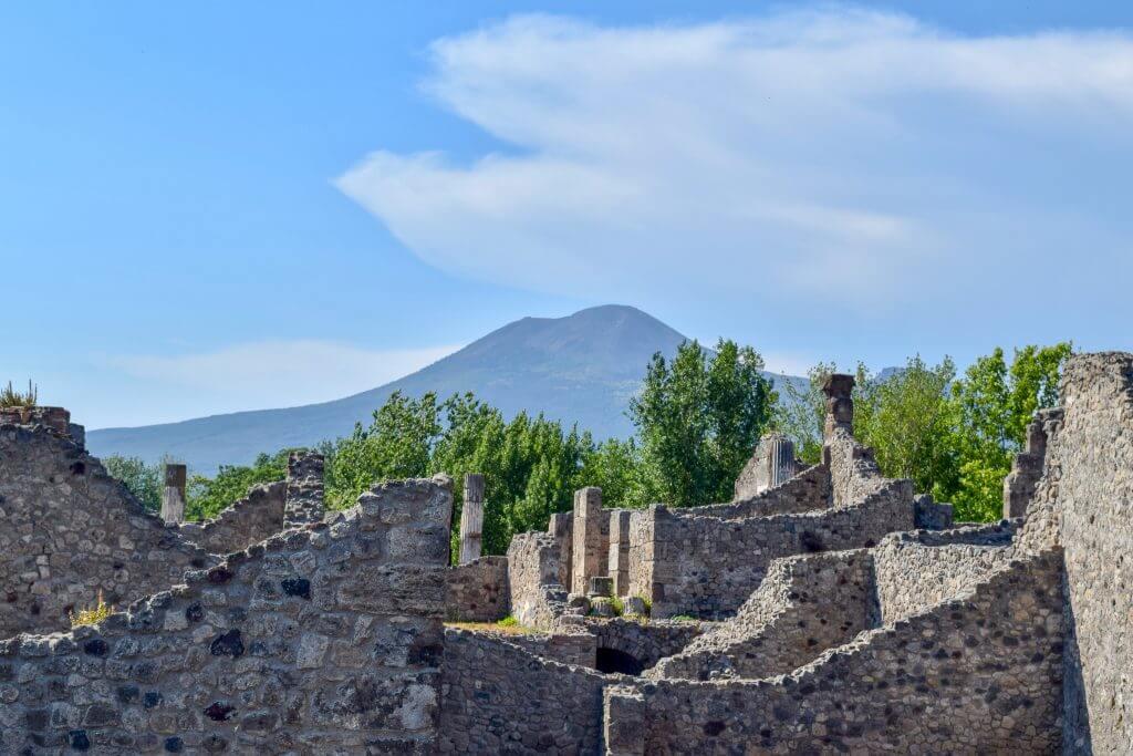 Mt Vesuvius behind Pompeii Cultural Tourism