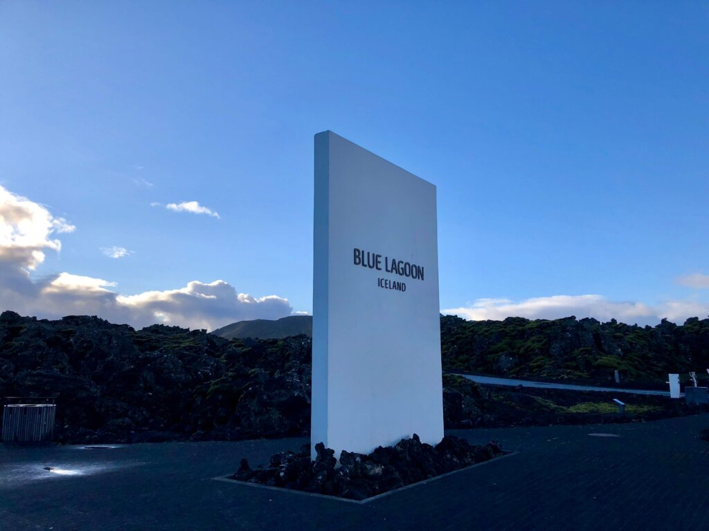 The Blue Lagoon sign early in the morning.