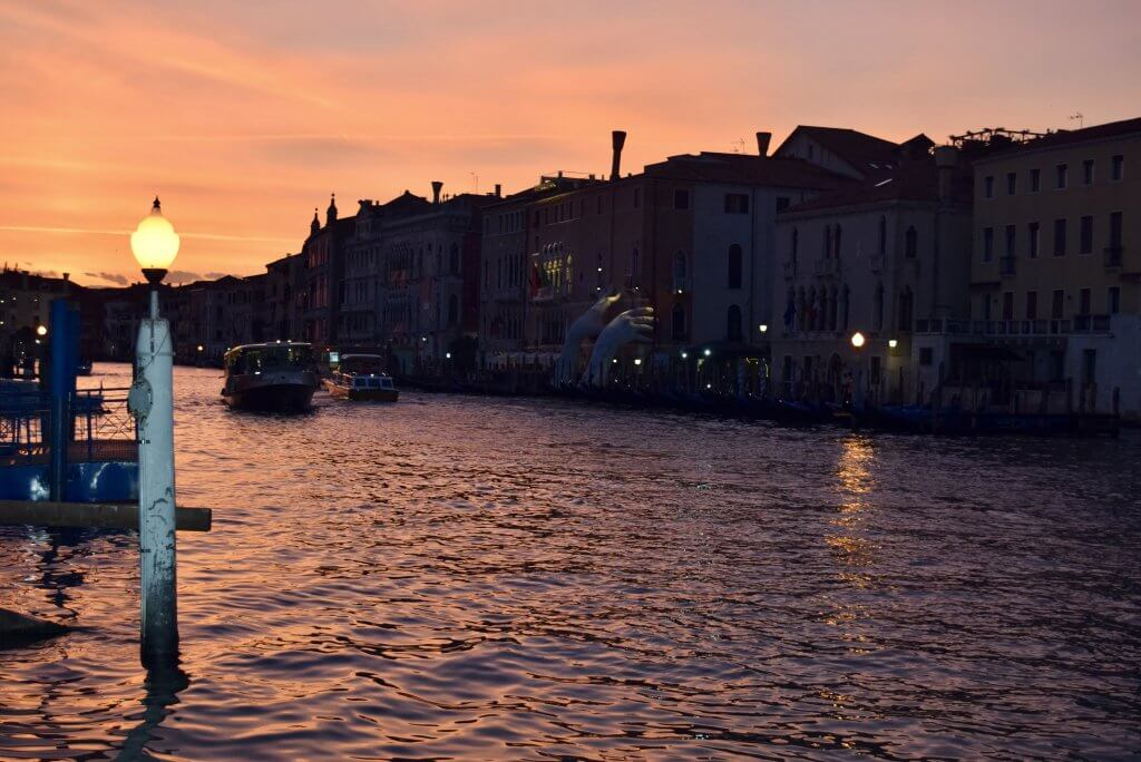 Venice, Italy at Night. Grand Canal view.