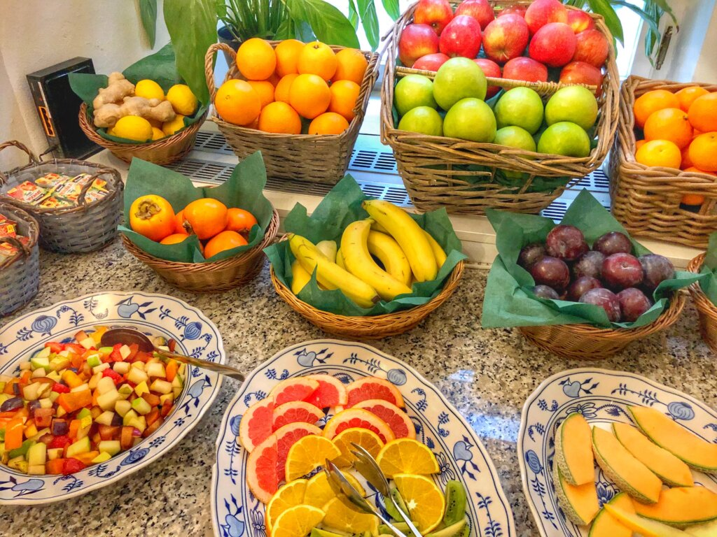 An elaborate fruit selection at the Residence Agnes, a boutique hotel in Prague.