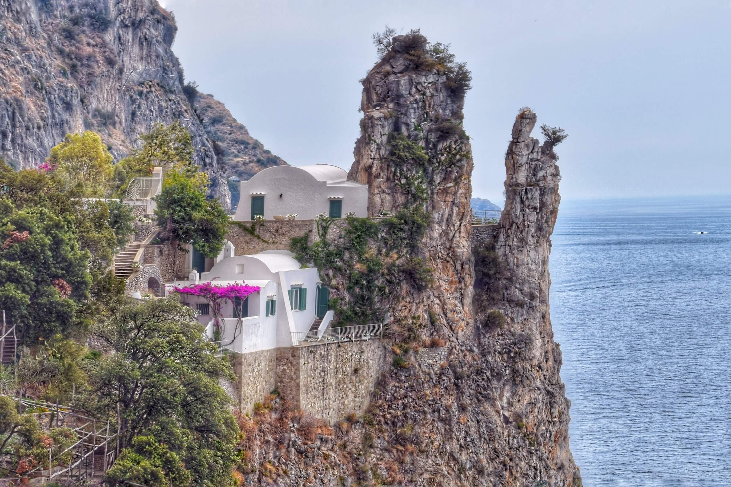 White coastal home in Amalfi, Italy.
